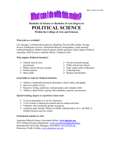 POLITICAL SCIENCE Bachelor of Science or Bachelor of Arts Degree in