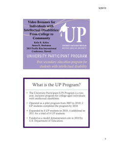 What is the UP Program? Video Resumes for Individuals with Intellectual Disabilities: