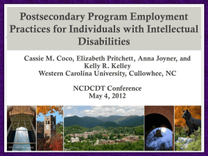 Postsecondary Program Employment Practices for Individuals with Intellectual Disabilities