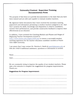 University/Content Supervisor Training Documentation Form