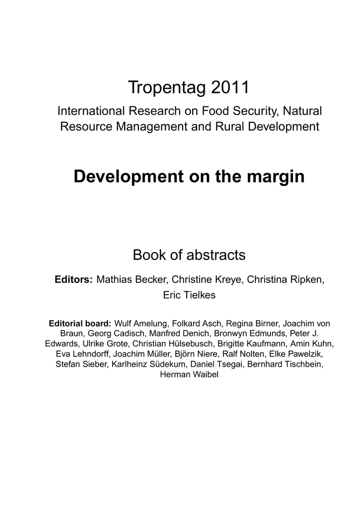 Tropentag 2011 Development On The Margin Book Of Abstracts