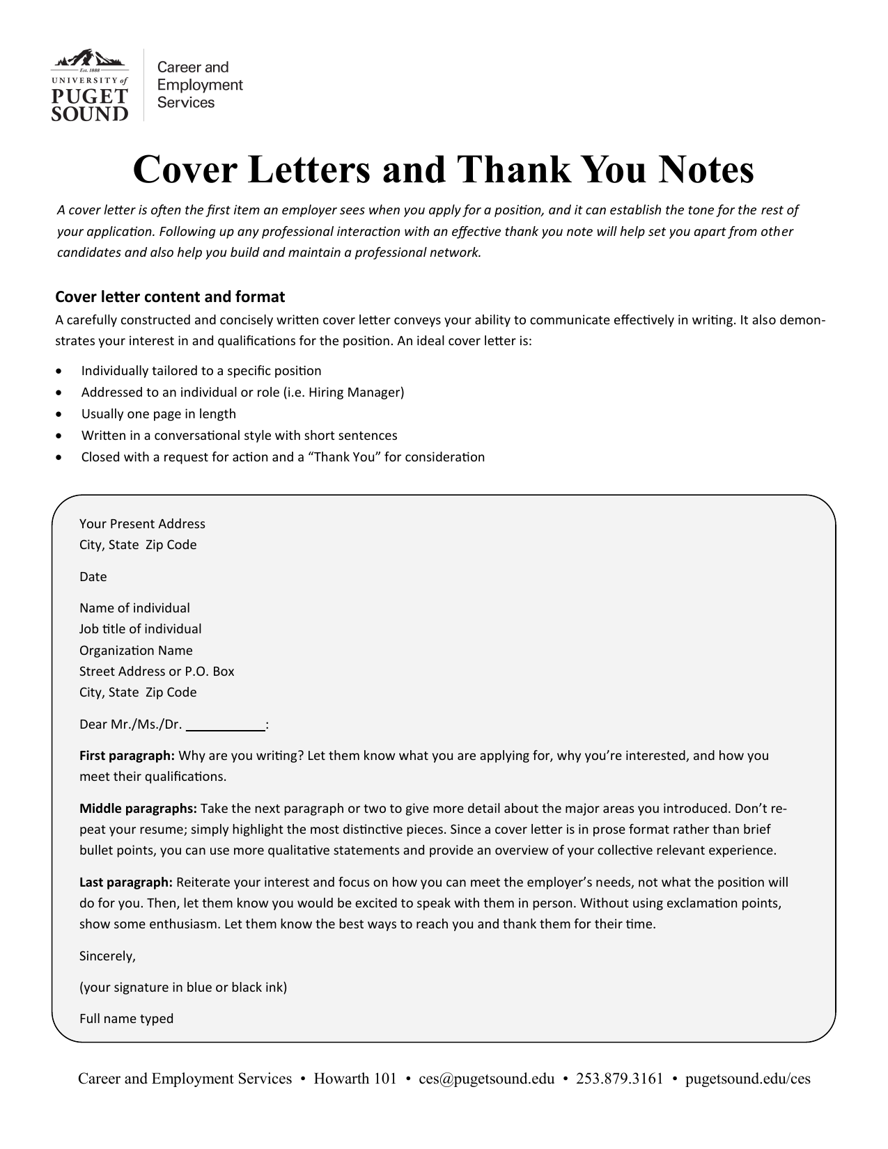 Cover Letters And Thank You Notes