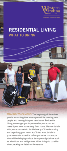 Residential living what to bRing  Moving to CaMpus