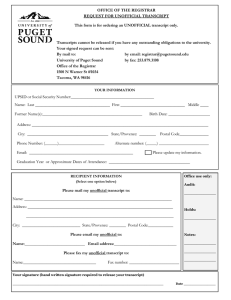 OFFICE OF THE REGISTRAR REQUEST FOR UNOFFICIAL TRANSCRIPT