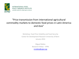 """Price transmission from international agricultural"