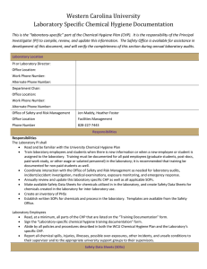 Western Carolina University Laboratory Specific Chemical Hygiene Documentation