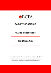 FACULTY OF SCIENCE MICROBIOLOGY TRAINEE HANDBOOK 2016