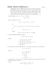 Algebra 1 Review for Final (Semester 1) Ch 1 to Ch 7