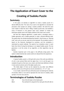 The Application of Exact Cover to the Creating of Sudoku
