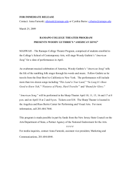FOR IMMEDIATE RELEASE RAMAPO COLLEGE THEATER PROGRAM AMERICAN SONG