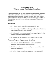 Orientation 2016 Veteran Leader Application Questions
