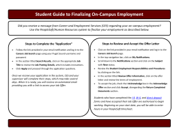 Student Guide to Finalizing On-Campus Employment