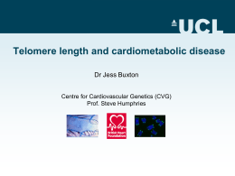 Telomere length and cardiometabolic disease Dr Jess Buxton Prof. Steve Humphries