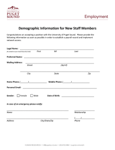 Demographic Information for New Staff Members