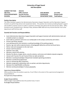 University of Puget Sound Job Description