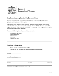 School of Occupational Therapy Supplementary Application Fee Payment Form