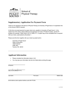 School of Physical Therapy Supplementary Application Fee Payment Form