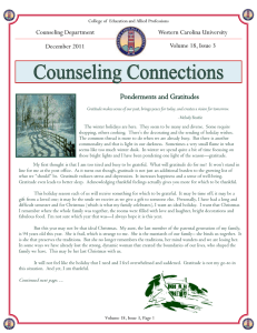 Ponderments and Gratitudes  Counseling Department Western Carolina University