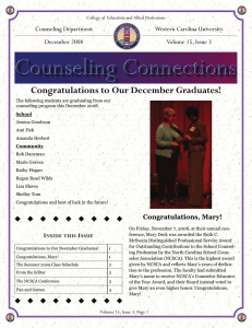 Congratulations to Our December Graduates! Counseling Department Western Carolina University December 2008