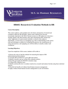 HR602: Research & Evaluation Methods in HR