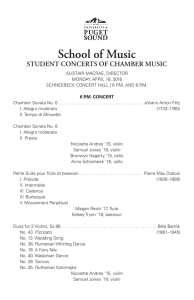 School of Music STUDENT CONCERTS OF CHAMBER MUSIC