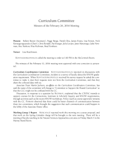 Curriculum Committee Minutes of the February 26, 2016 Meeting