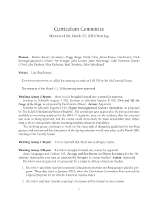 Curriculum Committee Minutes of the March 25, 2016 Meeting
