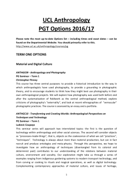 UCL Anthropology PGT Options 2016/17