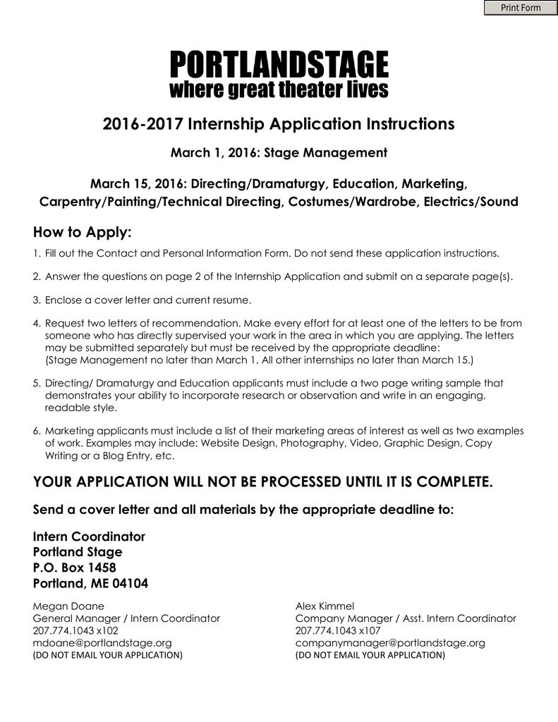 2016-2017 Internship Application Instructions