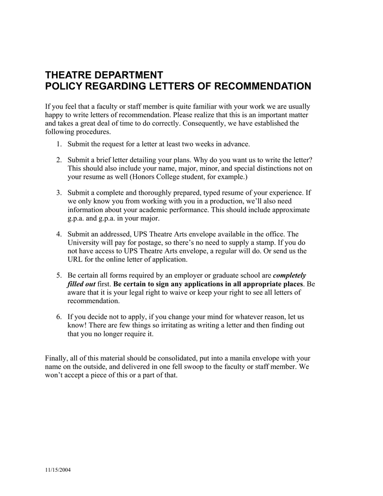 theatre department policy regarding letters of recommendation