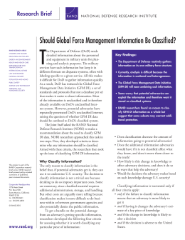 T Should Global Force Management Information Be Classified?