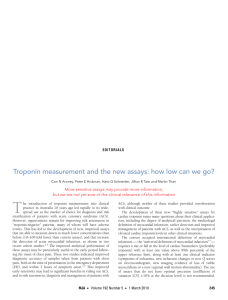 Troponin measurement and the new assays: how low can we...