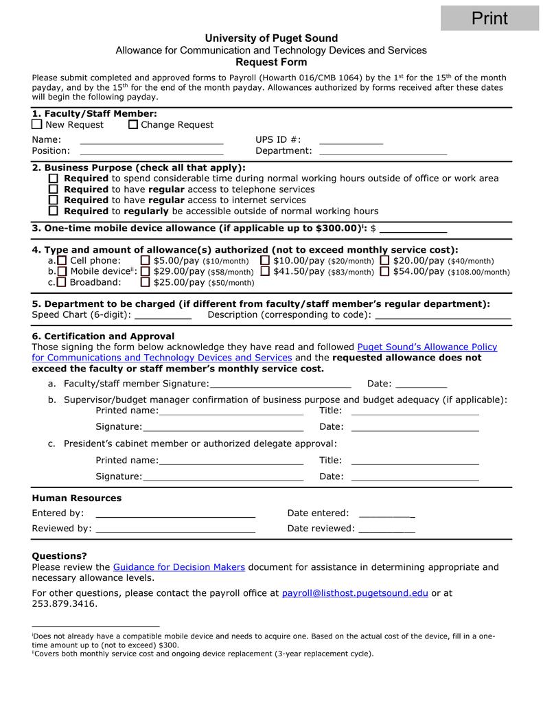 University of Puget Sound Request Form