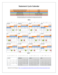 Statement Cycle Calendar