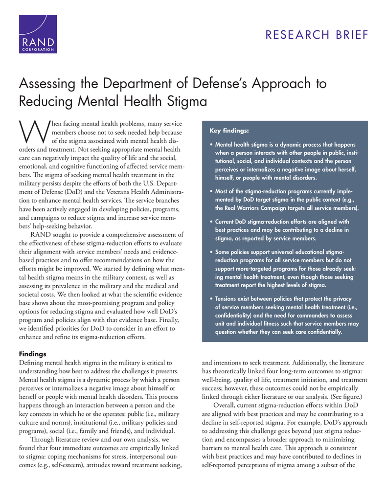 W Assessing The Department Of Defense S Approach To Reducing Mental