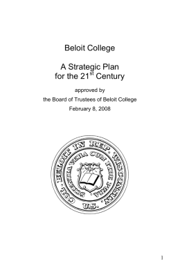 Beloit College  A Strategic Plan for the 21