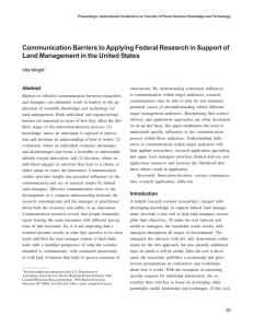Communication Barriers to Applying Federal Research in Support of