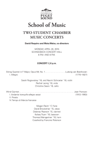 School of Music TWO STUDENT CHAMBER MUSIC CONCERTS