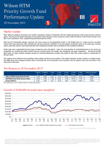 Wilson Priority Growth Fund Performance Update 30 November 2012