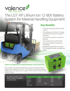The U27-XP Lithium Ion 12-80V Battery System for Material Handling Equipment