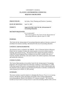 UNIVERSITY COUNCIL PLANNING AND PRIORITIES COMMITTEE REQUEST FOR DECISION