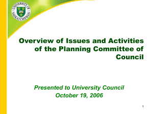 Overview of Issues and Activities of the Planning Committee of Council