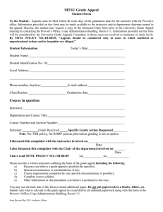 MTSU Grade Appeal Student Form