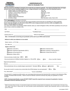 UNDERGRADUATE  Intent to Graduate Form