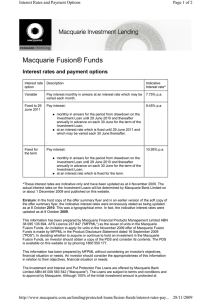Macquarie Fusion® Funds Interest rates and payment options Page 1 of 2