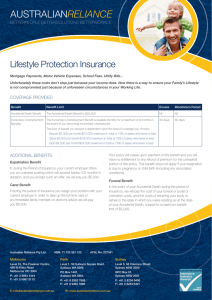 AUSTRALIAN RELIANCE Lifestyle Protection Insurance PeoPle