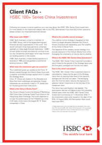 Client FAQs - HSBC 100+ Series China Investment