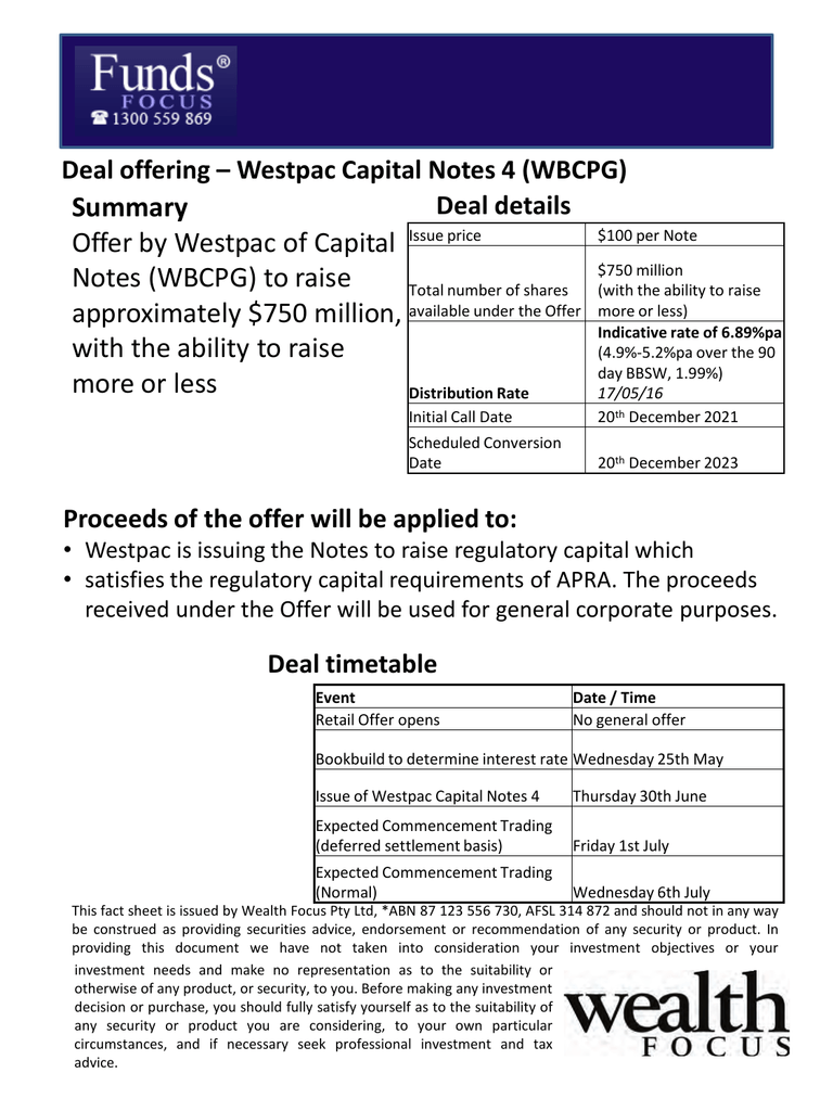 Summary Offer by Westpac of Capital Notes (WBCPG) to raise