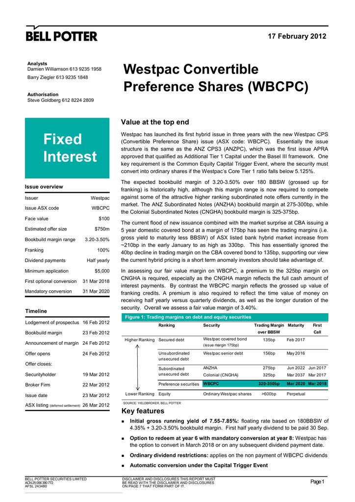 Fixed Westpac Convertible Preference Shares (WBCPC)