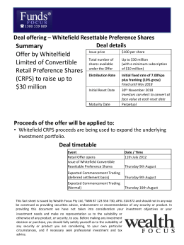 Summary Offer by Whitelfield Limited of Convertible